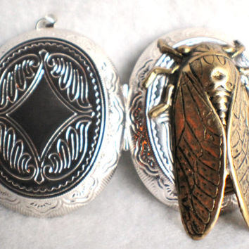 Silver locket with bronze cicada mounted on front cover with sterling silver plated chain.