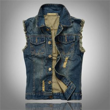 Trendy Newest Vintage Design denim vest men women Jeans Vest Sleeveless Jackets Fashion Hip Hop Denim Tank Top Spring Autumn coat AT_94_13