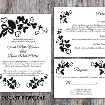 DIY Lace Wedding Invitation Template Set Editable Word File Download Printable Rustic Wedding Invitation Vintage Floral Black Invitation