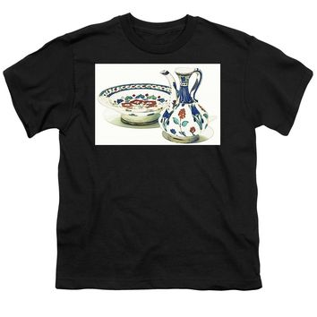An Ottoman Iznik Style Floral Design Pottery Polychrome, By Adam Asar, No 4a - Youth T-Shirt