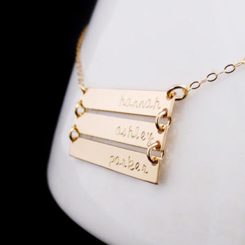Gold Bar Necklace, Personalized Gold Bars, Three Rectangle Bars, Mothers Necklace, Mommy Jewelry, Childrens Names, Mothers Day