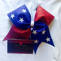 4th of July Cheer Bow 4th of July Hair Bow Red, White and Blue Cheer Bow American Flag Cheer Bow