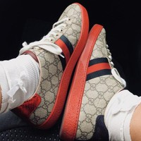 Gucci Flat Trending Women Men Grey+Red Soles Print Three Line Contrast Sneakers B104501-1 Red+Khaki