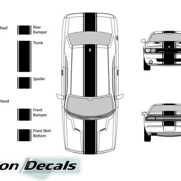 "Dodge Challenger 2013 15"" Rally Racing Stripe with Pin Stripes Vinyl Decal Kit"