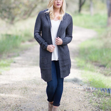 Hide Away Hooded Cardigan - Charcoal