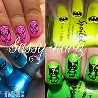 Superhero collection nail art transfer decal wraps Batman Superman Spiderman Kitty v wolverine