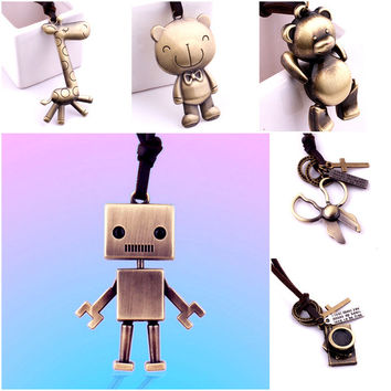 Vintage Jewelry Retro Steampunk Antique Bronze Robot/Horse/Bear/Camera/Key Necklace Long Leather Cord Alternative Measures