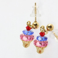 Swarovski Crystal Earrings, Ice Cream Sundae Little Girl Earrings