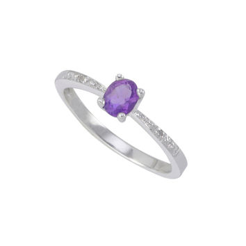 Sterling Silver .01ct Genuine Diamond Ring with Amethyst Stone Rectangle 5x4mm