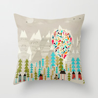 happy in the mountains Throw Pillow by Bri.buckley