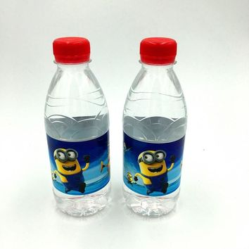 6PCS/LOT MINIONS WATER BOTTLE LABEL KIDS BIRTHDAY PARTY DECORATION MINIONS BOTTLE LABEL HAPPY BIRTHDAY PARTY SUPPLIES