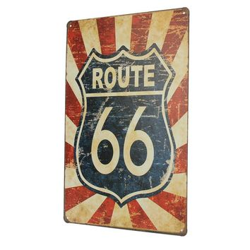 1pc Route 66 Antique Vintage Metal Tin Sheet Sign Poster Wall Decor Home Pub Bar 20x30cm