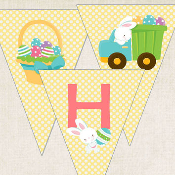 "Easter Party Banner, ""Happy Easter"", digital file, you-print"