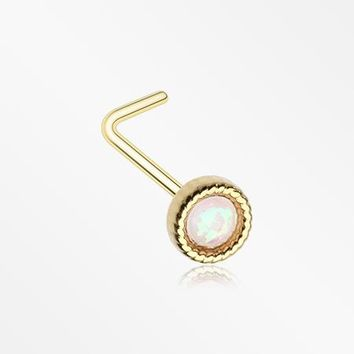 Golden Opalescent Sparkle Circle L-Shaped Nose Ring
