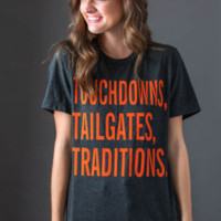 Charcoal & Orange Touchdowns Tailgates Traditions