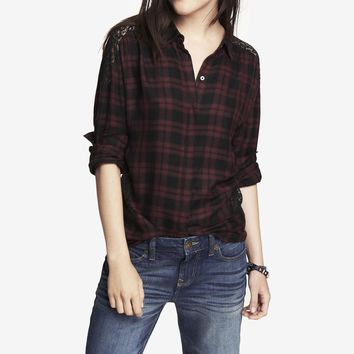 OVERSIZED PLAID AND LACE INSET SHIRT