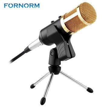 Fornorm Professional USB Condenser Microphone Volume Adjustment Reverberation Microphone For Computer KTV Studio professional