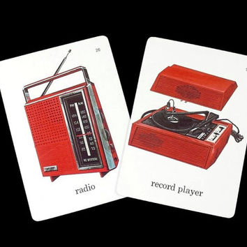 Vintage Radio and Record Player Flashcards 60s Illustrated Color Picture Word Flash Cards, Retro Paper Ephemera Crafts Scrapbooking Collage