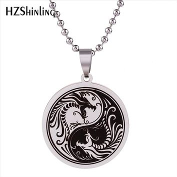 2018 New Yinyang Dragon Pendant Necklace No Fade Stainless Steel Jewelry Yin Yang Pendants Gifts Friends Silver Ball Chain HZ7
