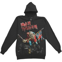 Iron Maiden Men's  Scuffed Trooper Zip Hoodie Zippered Hooded Sweatshirt Black