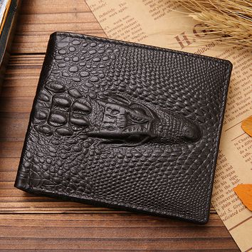 Vintage Mens Crocodile Style Leather Card Holder Wallet