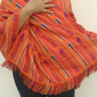 Mexican Rebozo Folk Fabric Supply, Tribal Table Runner orange, Table cloth, Boho Aztec, Wave colorful geometric design, Fabric by the yard