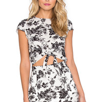 Lucca Couture Linen Front Tie Top in White Linen Floral