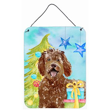 Christmas Tree Labradoodle Wall or Door Hanging Prints CK1874DS1216