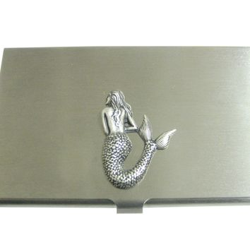 Silver Toned Large Mermaid Pendant Business Card Holder
