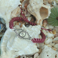 Wine red Greek Mati Bracelet, Evil Eye Bracelet for good luck, macrame jewelry