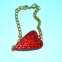 Red Rhinestone Heart Connector Bracelet Gold Tone Chain