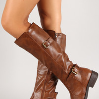 Bamboo Jagger-15A Double Buckle Knee High Riding Boot