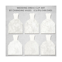 White Wedding Dress Clipart, Wedding Clip Art, Paper Wedding Graphics, Wedding Invitations Images Illustrations and Designs - Set 2
