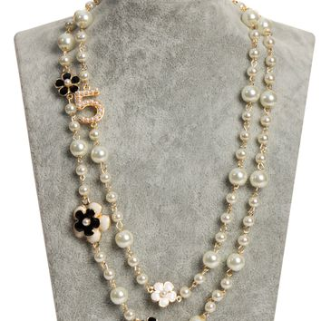 MISASHA Number Five Faux Pearl Encrusted Gold Plated Necklace