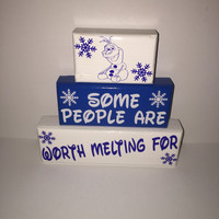 Olaf Frozen Melting Wood Stacking Blocks Painted with Decals Disney Lover