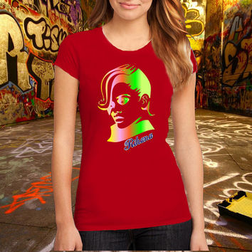 Rihanna Rainbow T Shirt Printed T Shirt, Women T Shirt, (Various Color Available)