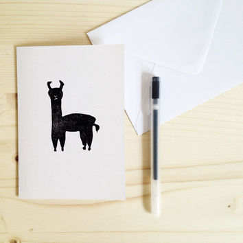 Llama Card Fun Illustrated Card Hand printed animal Linocut notecard with Envelope, black and white stationery