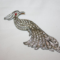 Art Deco Peacock Brooch Clear Paste Rhinestone 1930 Art Deco Jewelry