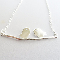 Silver Love Birds on a Branch Necklace, Bird Branch Necklace, Silver Bird Necklace Cute Chicks in Love