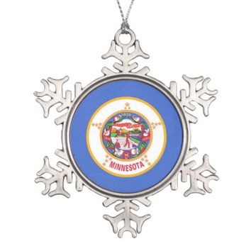 Snowflake Ornament with Minnesota Flag