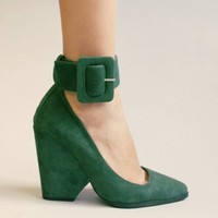 Green suede ankle strap heel [Jec8000] - $178.00 : Pixie Market, Fashion-Super-Market