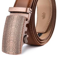 Mens Belt Luxury Genuine Leather Ratchet Belts For Men Automatic Buckle Brown Cowhide Strap Formal