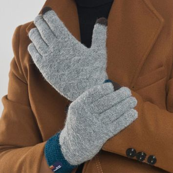 Fashion Winter Men Cashmere Gloves Casual Touch Screen Warm Knitted Patchwork Mittens Jacquard Solid Driving Gloves Free Size