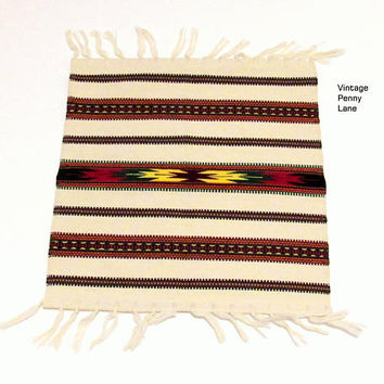 Vintage Handmade Table Runner, Mexican Wool Placemat