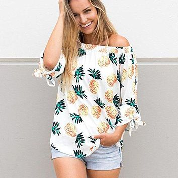 Women Ladies Sexy Tops Fashion Long Sleeve T Shirt Pineapple Printing Causal Blouse