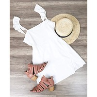 Bare Necessities Ruffled Sleeves Linen Dress with Off-Center Slit in White