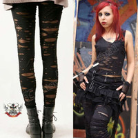 Noir Gothic Creepy Zombie Corroded Distressed Mummy Broken Legging (fits S/M)