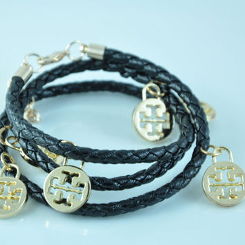 Tory Burch inspired double T black leather bracelet -- Gold Plated