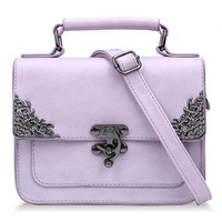 Vintage Style Handbag/Purse w/ Metallic Hasp Design - Pastel Purple