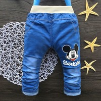 2016 Classic Kids Girls Jeans Elastic Waist Straight Mickey Pattern Denim Pants Retail Boy Jeans For 2-5 Years